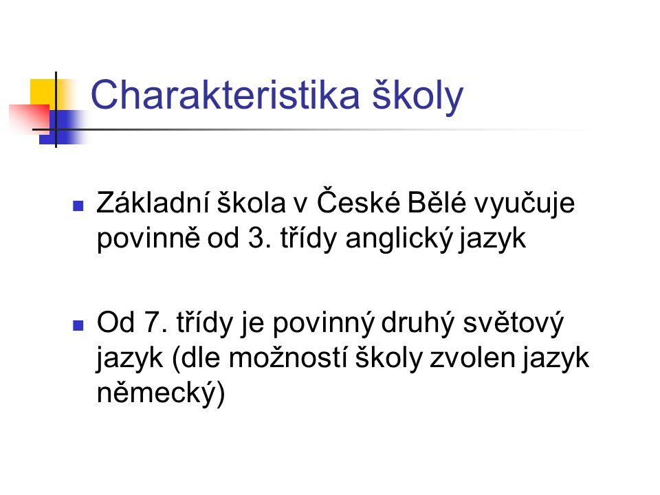 Charakteristika školy Základní škola v České Bělé vyučuje povinně od 3.