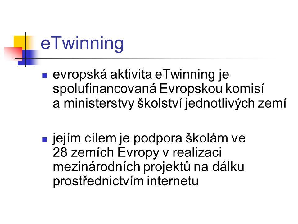 eTwinning evropská aktivita eTwinning je spolufinancovaná Evropskou komisí a ministerstvy školství jednotlivých zemí jejím cílem je podpora školám ve 28 zemích Evropy v realizaci mezinárodních projektů na dálku prostřednictvím internetu