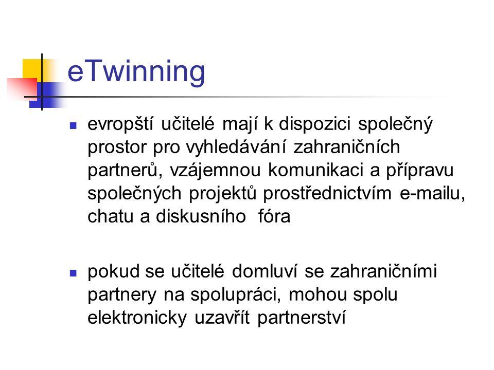 eTwinning evropští učitelé mají k dispozici společný prostor pro vyhledávání zahraničních partnerů, vzájemnou komunikaci a přípravu společných projektů prostřednictvím e-mailu, chatu a diskusního fóra pokud se učitelé domluví se zahraničními partnery na spolupráci, mohou spolu elektronicky uzavřít partnerství