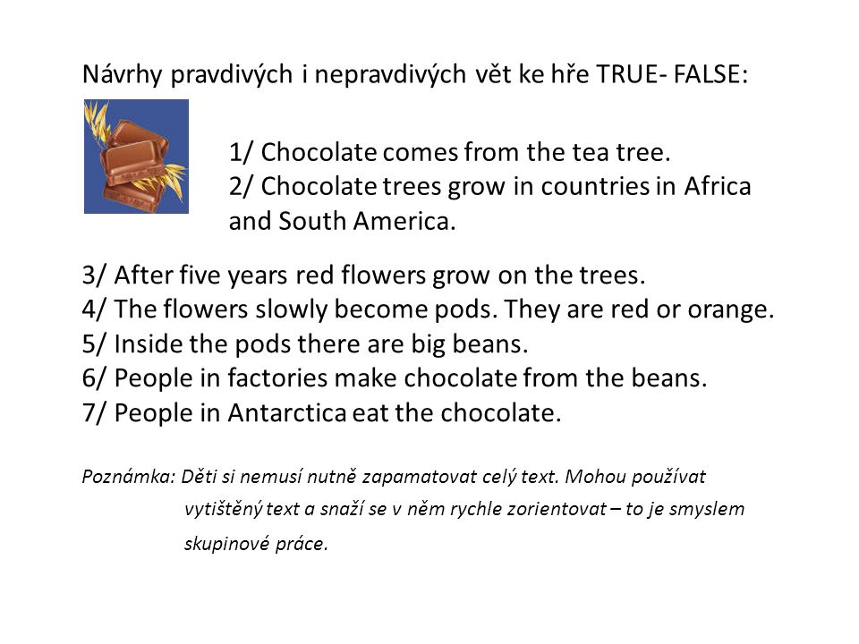 Návrhy pravdivých i nepravdivých vět ke hře TRUE- FALSE: 1/ Chocolate comes from the tea tree.