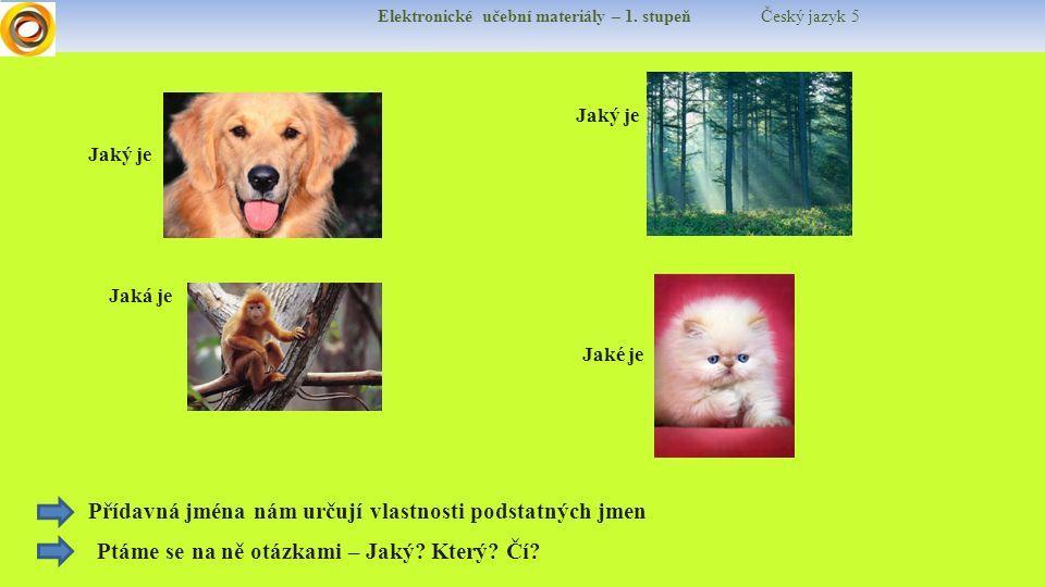 Elektronické učební materiály – 1. stupeň Český jazyk 5 Jaký je Jaká je Jaké je Přídavná jména nám určují vlastnosti podstatných jmen Ptáme se na ně o
