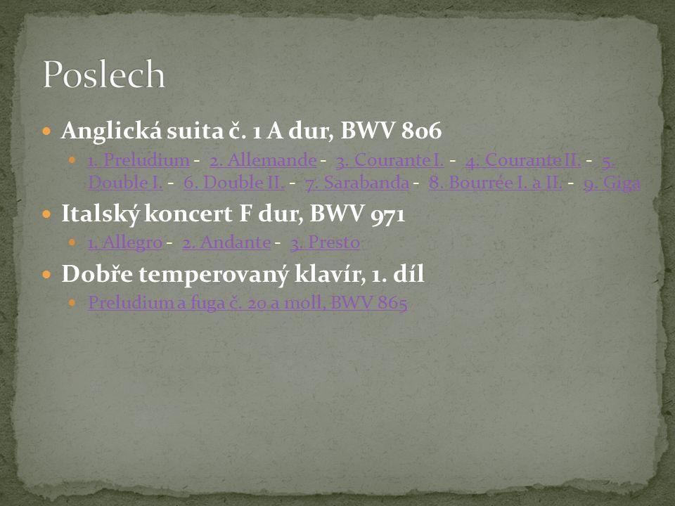 Anglická suita č. 1 A dur, BWV 806 1. Preludium - 2.