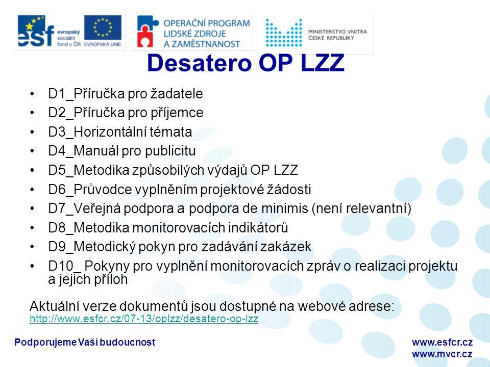 Podporujeme Vaši budoucnostwww.esfcr.cz www.mvcr.cz Desatero OP LZZ D1_Příručka pro žadatele D2_Příručka pro příjemce D3_Horizontální témata D4_Manuál pro publicitu D5_Metodika způsobilých výdajů OP LZZ D6_Průvodce vyplněním projektové žádosti D7_Veřejná podpora a podpora de minimis (není relevantní) D8_Metodika monitorovacích indikátorů D9_Metodický pokyn pro zadávání zakázek D10_ Pokyny pro vyplnění monitorovacích zpráv o realizaci projektu a jejich příloh Aktuální verze dokumentů jsou dostupné na webové adrese: http://www.esfcr.cz/07-13/oplzz/desatero-op-lzz