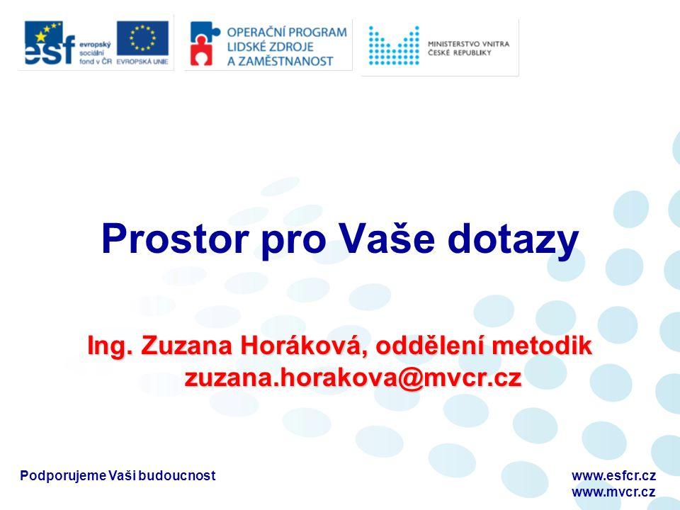 Podporujeme Vaši budoucnostwww.esfcr.cz www.mvcr.cz Prostor pro Vaše dotazy Ing.