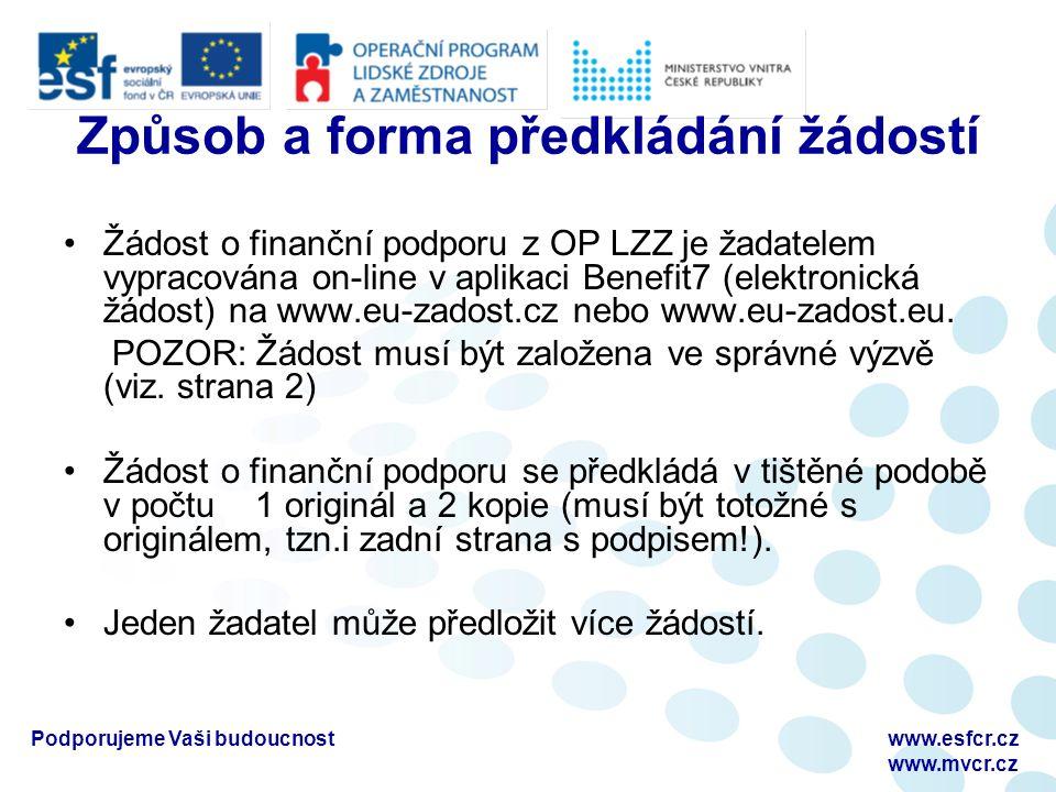 Podporujeme Vaši budoucnostwww.esfcr.cz www.mvcr.cz Způsob a forma předkládání žádostí Žádost o finanční podporu z OP LZZ je žadatelem vypracována on-