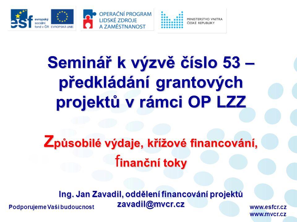 Podporujeme Vaši budoucnostwww.esfcr.cz www.mvcr.cz Seminář k výzvě číslo 53 – předkládání grantových projektů v rámci OP LZZ Z působilé výdaje, křížové financování, inanční toky Ing.