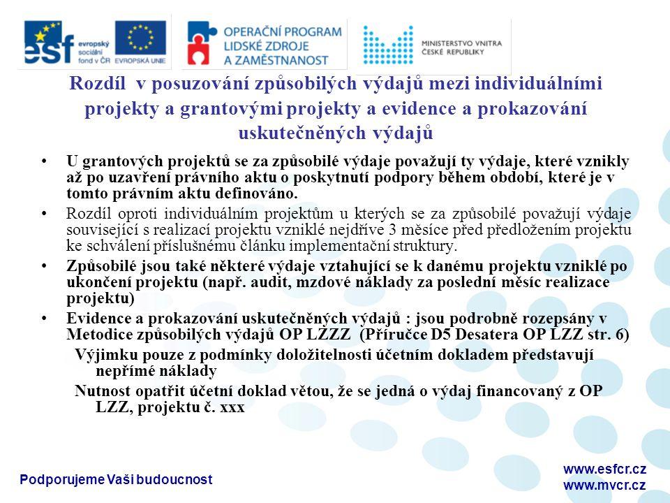 Podporujeme Vaši budoucnost www.esfcr.cz www.mvcr.cz Rozdíl v posuzování způsobilých výdajů mezi individuálními projekty a grantovými projekty a evidence a prokazování uskutečněných výdajů U grantových projektů se za způsobilé výdaje považují ty výdaje, které vznikly až po uzavření právního aktu o poskytnutí podpory během období, které je v tomto právním aktu definováno.