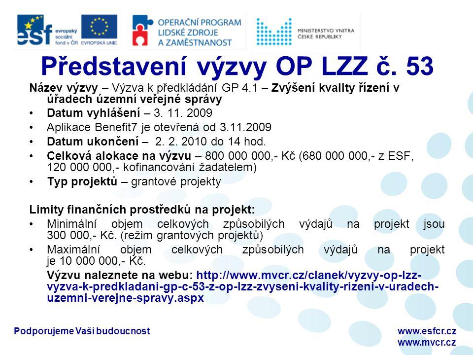 Podporujeme Vaši budoucnostwww.esfcr.cz www.mvcr.cz Představení výzvy OP LZZ č. 53 Název výzvy – Výzva k předkládání GP 4.1 – Zvýšení kvality řízení v