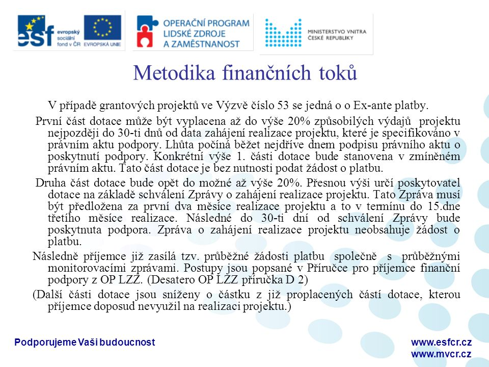Podporujeme Vaši budoucnostwww.esfcr.cz www.mvcr.cz Metodika finančních toků V případě grantových projektů ve Výzvě číslo 53 se jedná o o Ex-ante platby.
