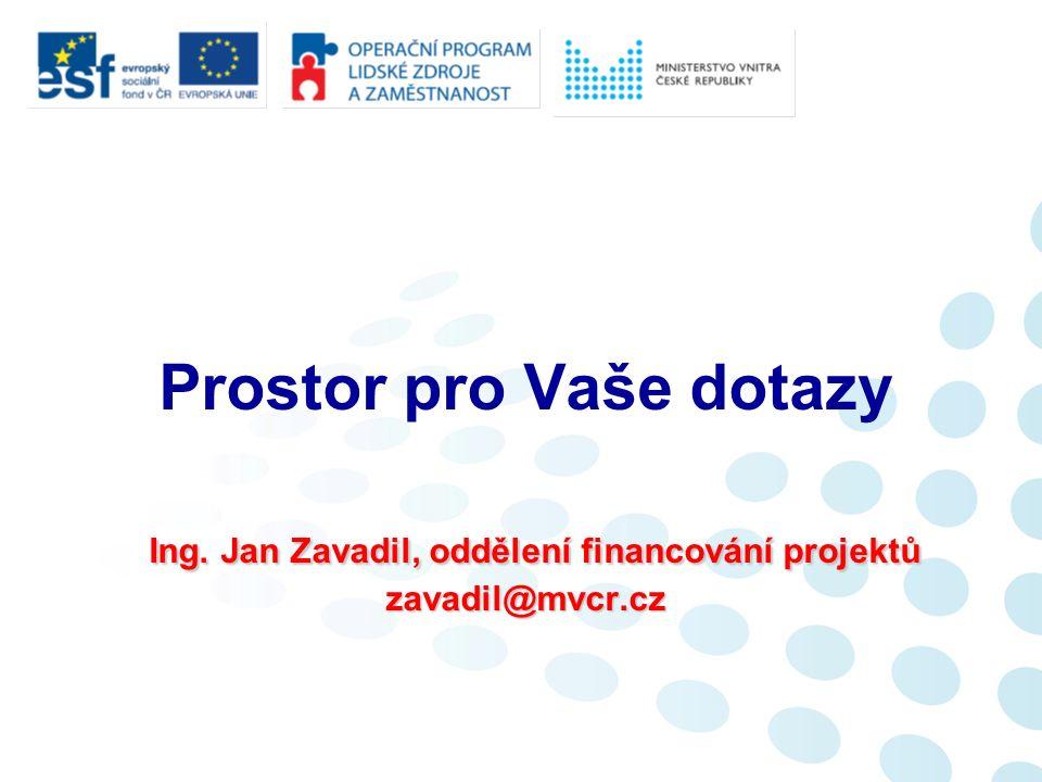 Ing.Jan Zavadil, oddělení financování projektů zavadil@mvcr.cz Prostor pro Vaše dotazy Ing.
