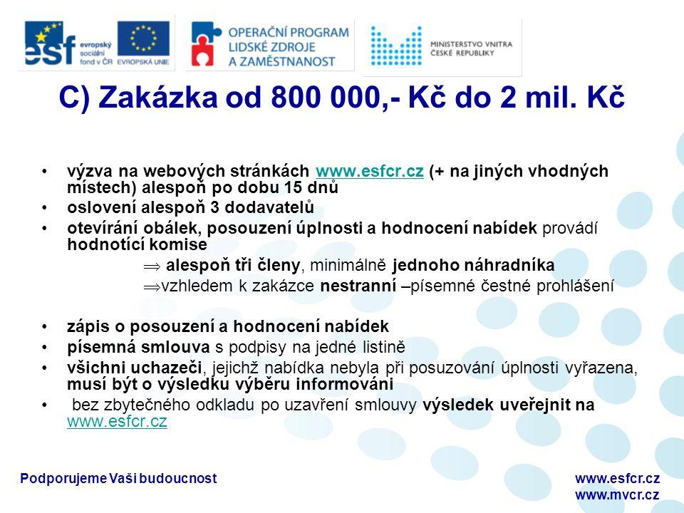 C) Zakázka od 800 000,- Kč do 2 mil. Kč výzva na webových stránkách www.esfcr.cz (+ na jiných vhodných místech) alespoň po dobu 15 dnůwww.esfcr.cz osl