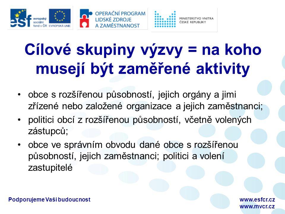 Podporujeme Vaši budoucnostwww.esfcr.cz www.mvcr.cz Cílové skupiny výzvy = na koho musejí být zaměřené aktivity obce s rozšířenou působností, jejich o