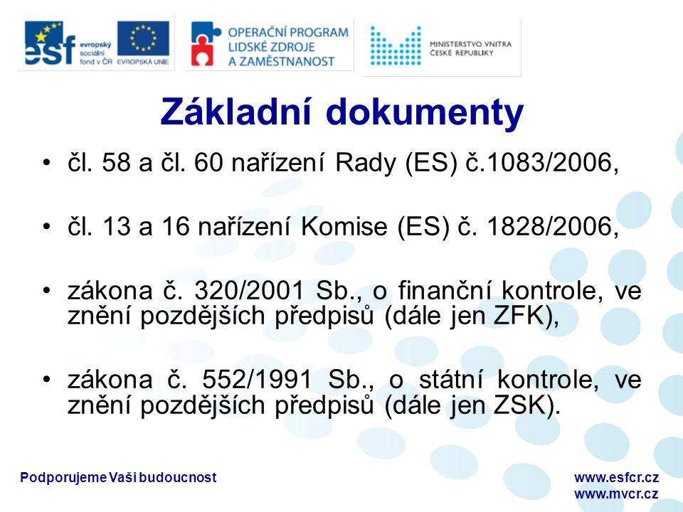 Podporujeme Vaši budoucnostwww.esfcr.cz www.mvcr.cz Základní dokumenty čl. 58 a čl. 60 nařízení Rady (ES) č.1083/2006, čl. 13 a 16 nařízení Komise (ES