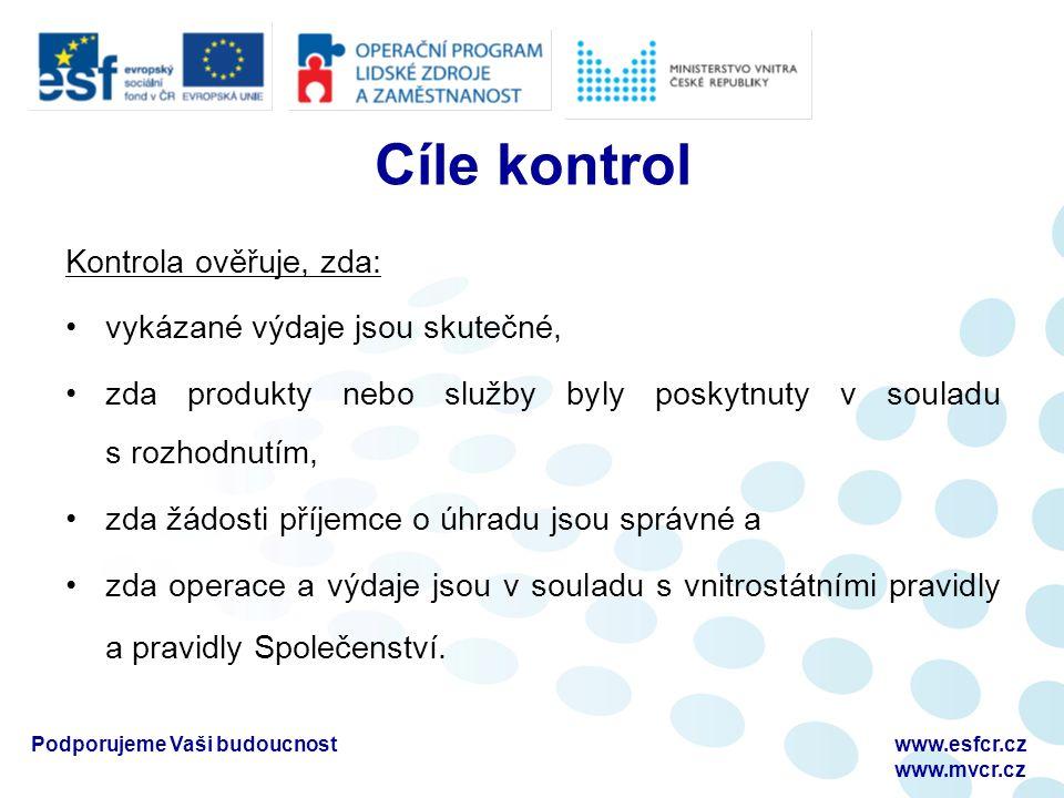 Podporujeme Vaši budoucnostwww.esfcr.cz www.mvcr.cz Cíle kontrol Kontrola ověřuje, zda: vykázané výdaje jsou skutečné, zda produkty nebo služby byly p