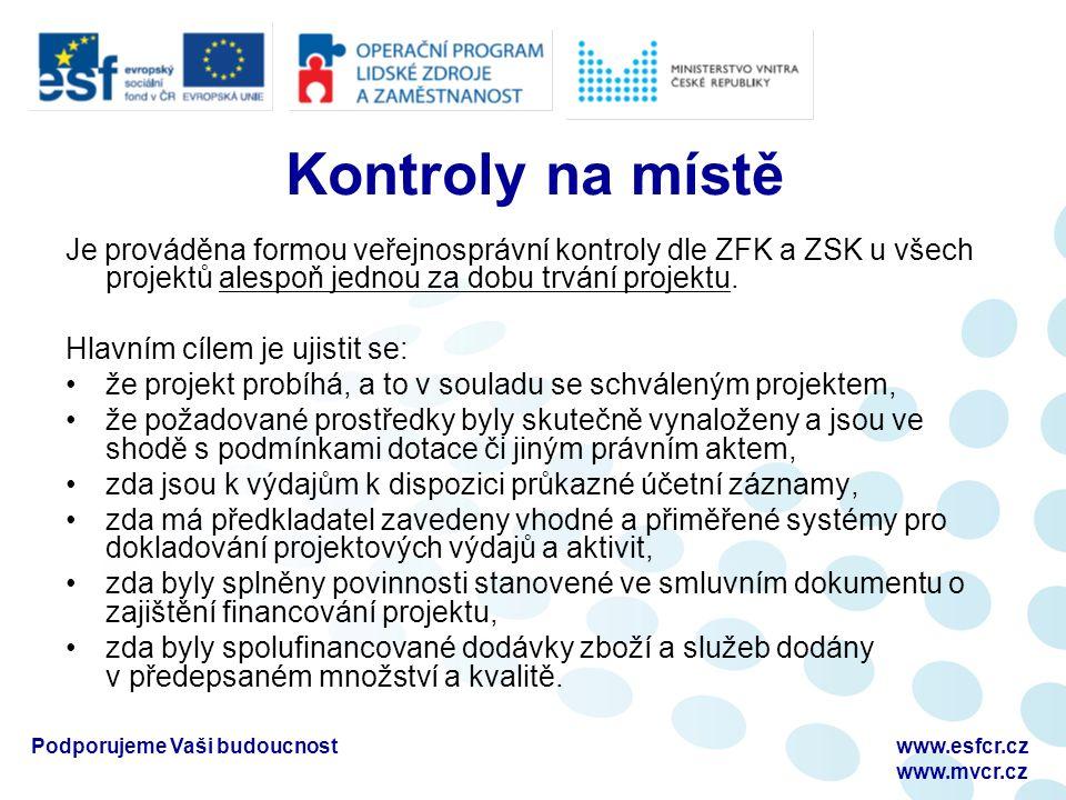 Podporujeme Vaši budoucnostwww.esfcr.cz www.mvcr.cz Kontroly na místě Je prováděna formou veřejnosprávní kontroly dle ZFK a ZSK u všech projektů alespoň jednou za dobu trvání projektu.