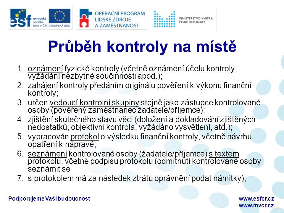 Podporujeme Vaši budoucnostwww.esfcr.cz www.mvcr.cz Průběh kontroly na místě 1.oznámení fyzické kontroly (včetně oznámení účelu kontroly, vyžádání nez