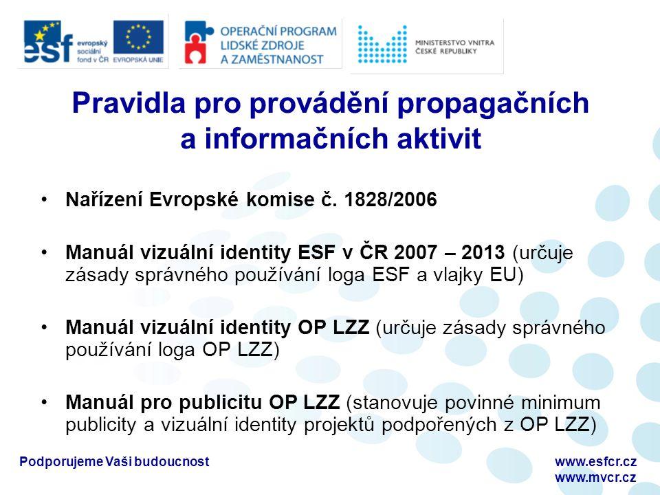 Podporujeme Vaši budoucnostwww.esfcr.cz www.mvcr.cz Pravidla pro provádění propagačních a informačních aktivit Nařízení Evropské komise č. 1828/2006 M
