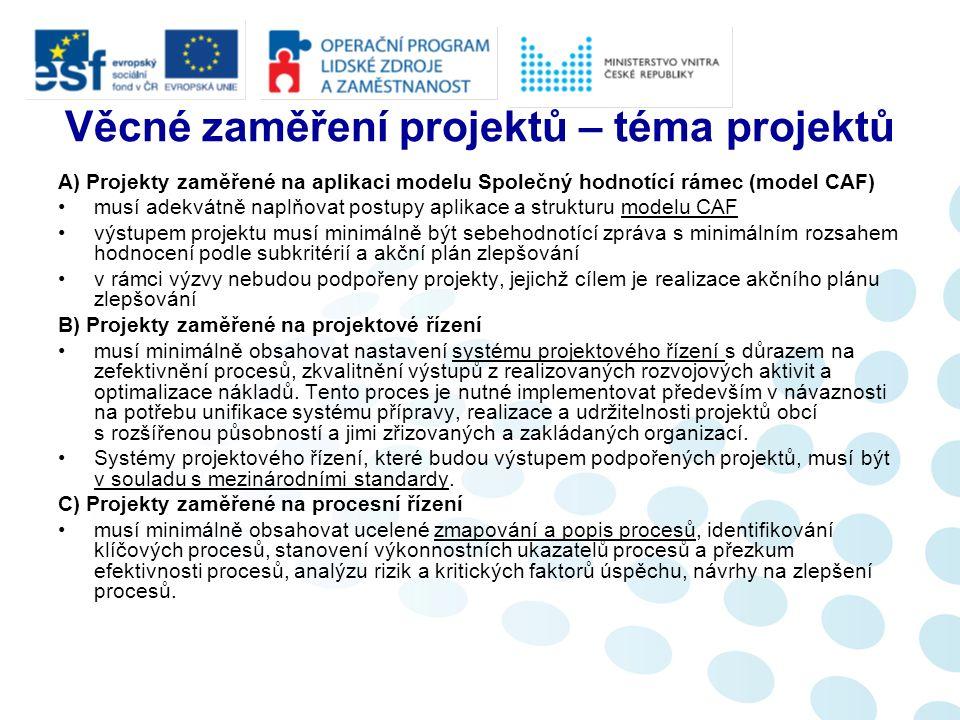 Věcné zaměření projektů – téma projektů A) Projekty zaměřené na aplikaci modelu Společný hodnotící rámec (model CAF) musí adekvátně naplňovat postupy
