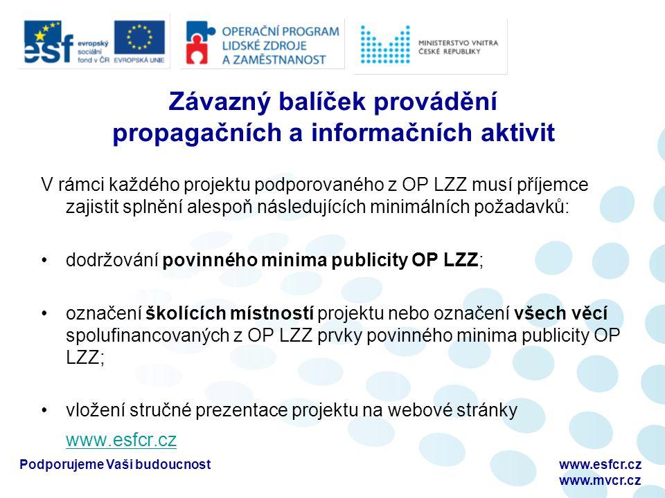 Podporujeme Vaši budoucnostwww.esfcr.cz www.mvcr.cz Závazný balíček provádění propagačních a informačních aktivit V rámci každého projektu podporované