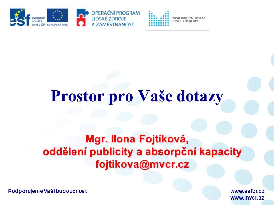 Podporujeme Vaši budoucnostwww.esfcr.cz www.mvcr.cz Prostor pro Vaše dotazy Mgr. Ilona Fojtíková, oddělení publicity a absorpční kapacity fojtikova@mv