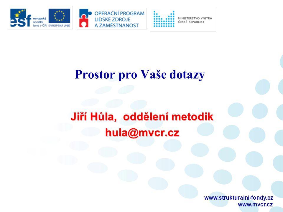 Prostor pro Vaše dotazy Jiří Hůla, oddělení metodik hula@mvcr.cz www.strukturalni-fondy.cz www.mvcr.cz