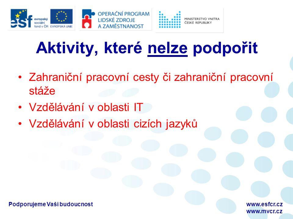 Podporujeme Vaši budoucnostwww.esfcr.cz www.mvcr.cz Aktivity, které nelze podpořit Zahraniční pracovní cesty či zahraniční pracovní stáže Vzdělávání v