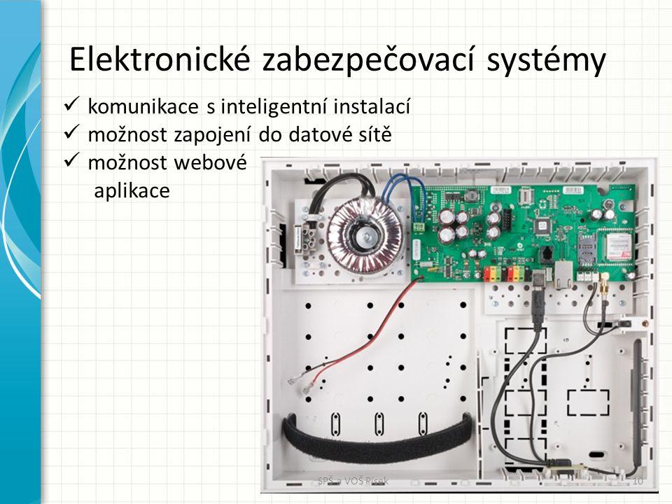 Elektronické zabezpečovací systémy komunikace s inteligentní instalací možnost zapojení do datové sítě možnost webové aplikace SPŠ a VOŠ Písek10