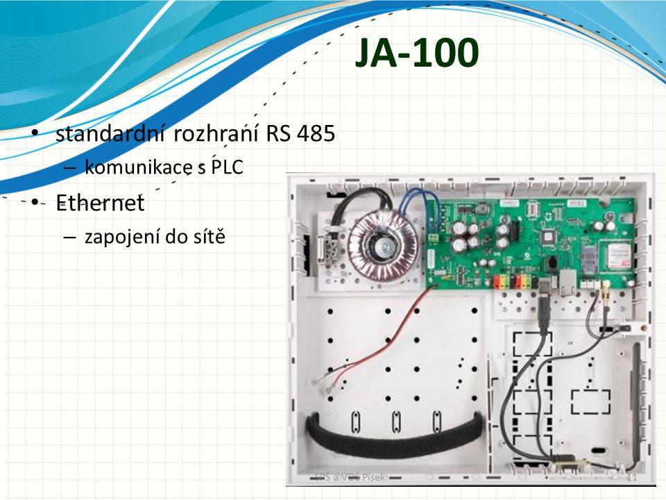 JA-100 standardní rozhraní RS 485 – komunikace s PLC Ethernet – zapojení do sítě SPŠ a VOŠ Písek11