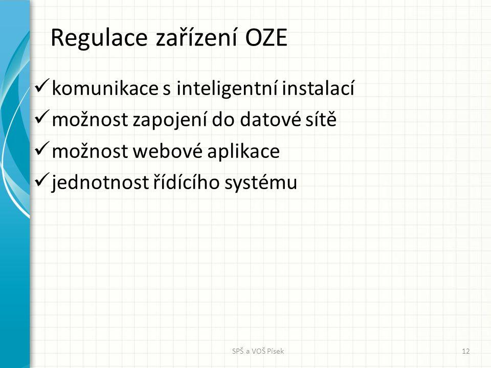 Regulace zařízení OZE komunikace s inteligentní instalací možnost zapojení do datové sítě možnost webové aplikace jednotnost řídícího systému SPŠ a VO
