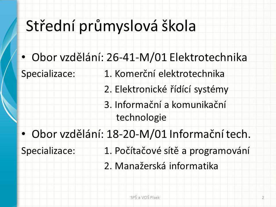 Střední průmyslová škola Obor vzdělání: 26-41-M/01 Elektrotechnika Specializace: 1. Komerční elektrotechnika 2. Elektronické řídící systémy 3. Informa