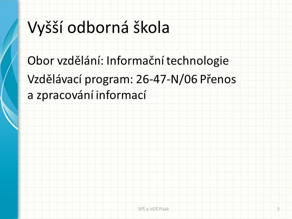 Vyšší odborná škola Obor vzdělání: Informační technologie Vzdělávací program: 26-47-N/06 Přenos a zpracování informací SPŠ a VOŠ Písek3