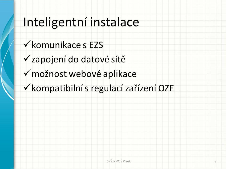 Inteligentní instalace komunikace s EZS zapojení do datové sítě možnost webové aplikace kompatibilní s regulací zařízení OZE SPŠ a VOŠ Písek8