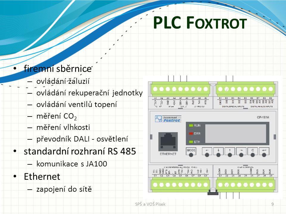 PLC F OXTROT firemní sběrnice – ovládání žaluzií – ovládání rekuperační jednotky – ovládání ventilů topení – měření CO 2 – měření vlhkosti – převodník DALI - osvětlení standardní rozhraní RS 485 – komunikace s JA100 Ethernet – zapojení do sítě SPŠ a VOŠ Písek9