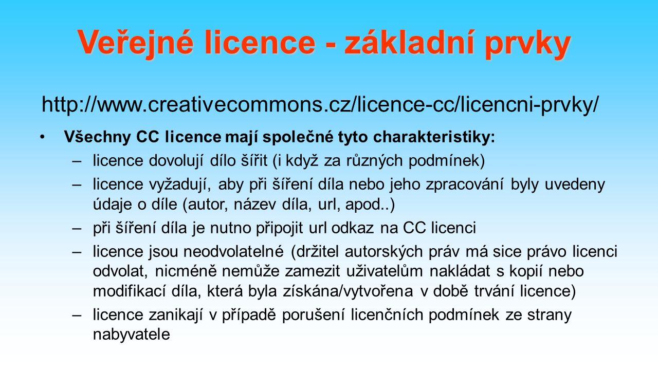 http://www.creativecommons.cz/licence-cc/licencni-prvky/ Všechny CC licence mají společné tyto charakteristiky: –licence dovolují dílo šířit (i když za různých podmínek) –licence vyžadují, aby při šíření díla nebo jeho zpracování byly uvedeny údaje o díle (autor, název díla, url, apod..) –při šíření díla je nutno připojit url odkaz na CC licenci –licence jsou neodvolatelné (držitel autorských práv má sice právo licenci odvolat, nicméně nemůže zamezit uživatelům nakládat s kopií nebo modifikací díla, která byla získána/vytvořena v době trvání licence) –licence zanikají v případě porušení licenčních podmínek ze strany nabyvatele Veřejné licence - základní prvky