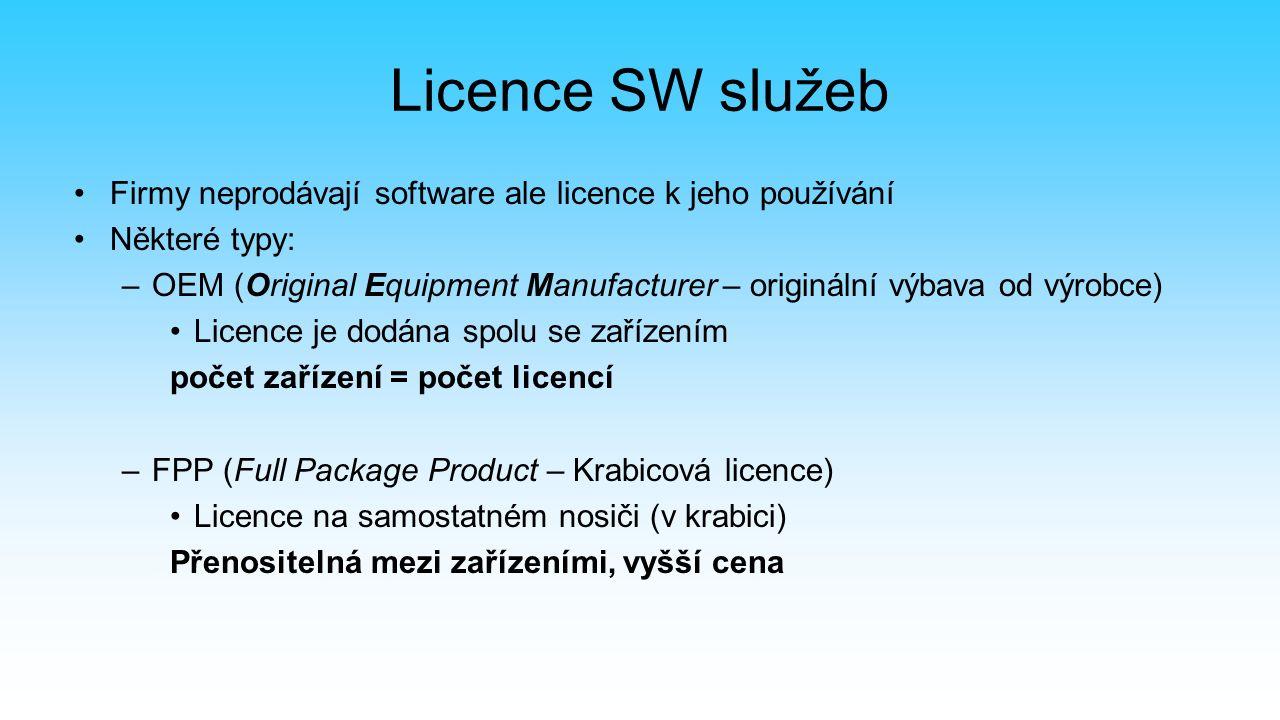 Licence SW služeb Firmy neprodávají software ale licence k jeho používání Některé typy: –OEM (Original Equipment Manufacturer – originální výbava od výrobce) Licence je dodána spolu se zařízením počet zařízení = počet licencí –FPP (Full Package Product – Krabicová licence) Licence na samostatném nosiči (v krabici) Přenositelná mezi zařízeními, vyšší cena