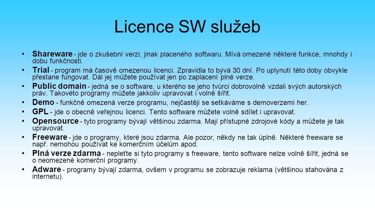 Licence SW služeb Shareware - jde o zkušební verzi, jinak placeného softwaru.