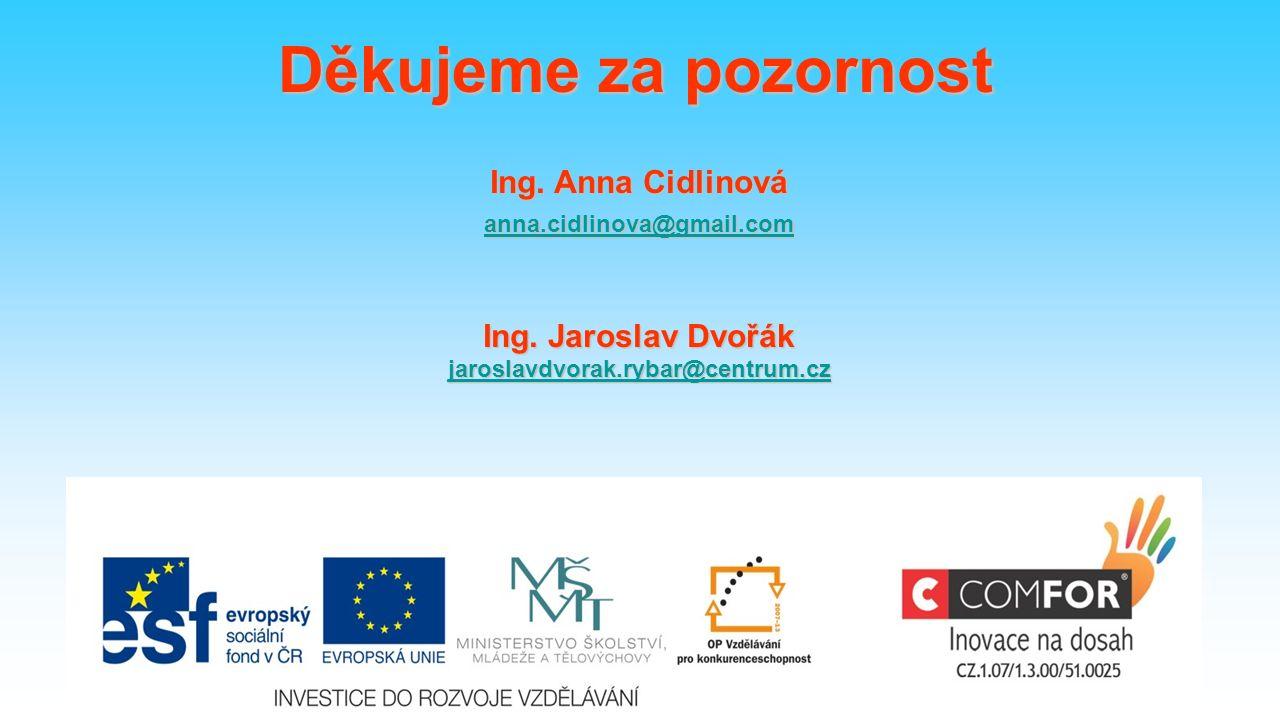 59 Děkujeme za pozornost Ing. Anna Cidlinová anna.cidlinova@gmail.com Ing.