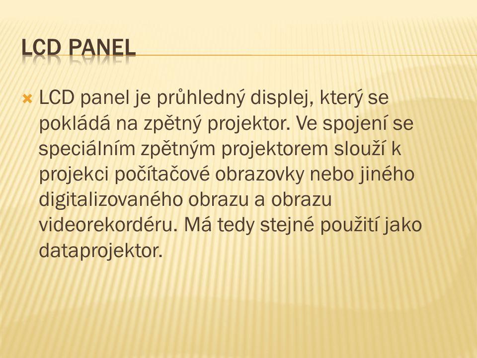  LCD panel je průhledný displej, který se pokládá na zpětný projektor.