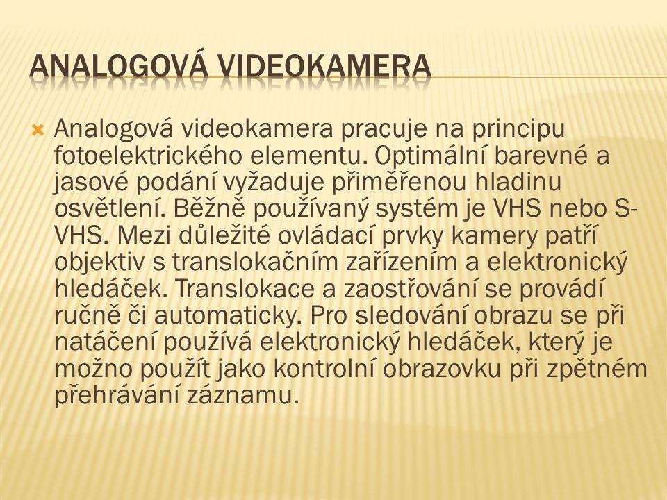  Analogová videokamera pracuje na principu fotoelektrického elementu.