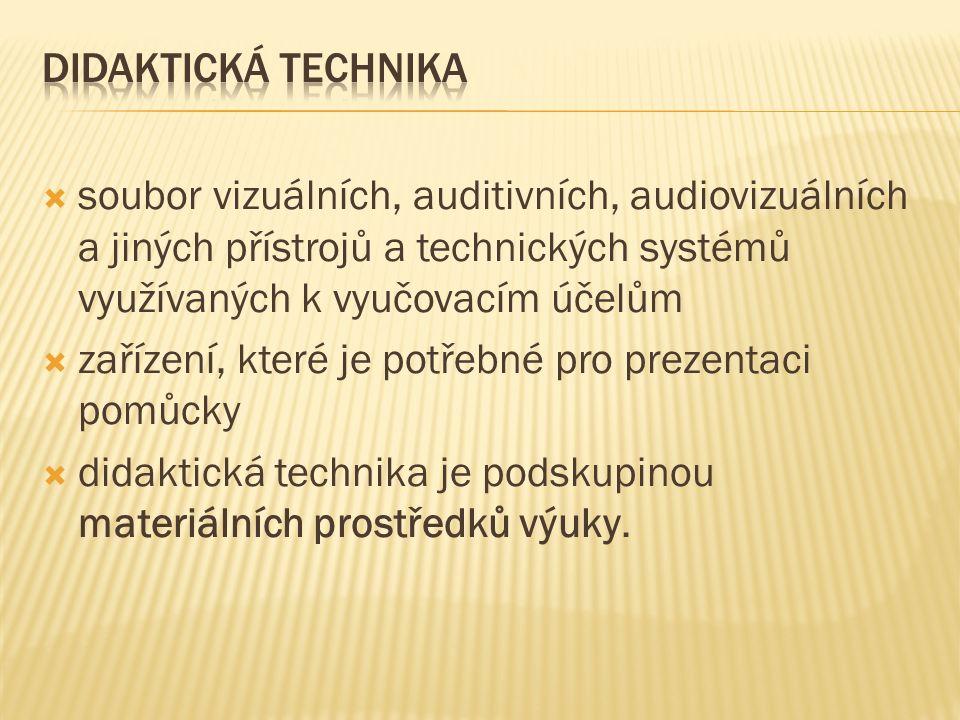  soubor vizuálních, auditivních, audiovizuálních a jiných přístrojů a technických systémů využívaných k vyučovacím účelům  zařízení, které je potřebné pro prezentaci pomůcky  didaktická technika je podskupinou materiálních prostředků výuky.