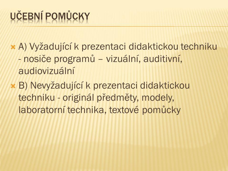  A) Vyžadující k prezentaci didaktickou techniku - nosiče programů – vizuální, auditivní, audiovizuální  B) Nevyžadující k prezentaci didaktickou techniku - originál předměty, modely, laboratorní technika, textové pomůcky