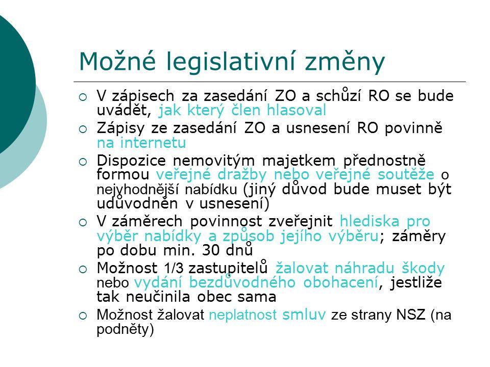 Možné legislativní změny  V zápisech za zasedání ZO a schůzí RO se bude uvádět, jak který člen hlasoval  Zápisy ze zasedání ZO a usnesení RO povinně na internetu  Dispozice nemovitým majetkem přednostně formou veřejné dražby nebo veřejné soutěže o nejvhodnější nabídku (jiný důvod bude muset být udůvodněn v usnesení)  V záměrech povinnost zveřejnit hlediska pro výběr nabídky a způsob jejího výběru; záměry po dobu min.