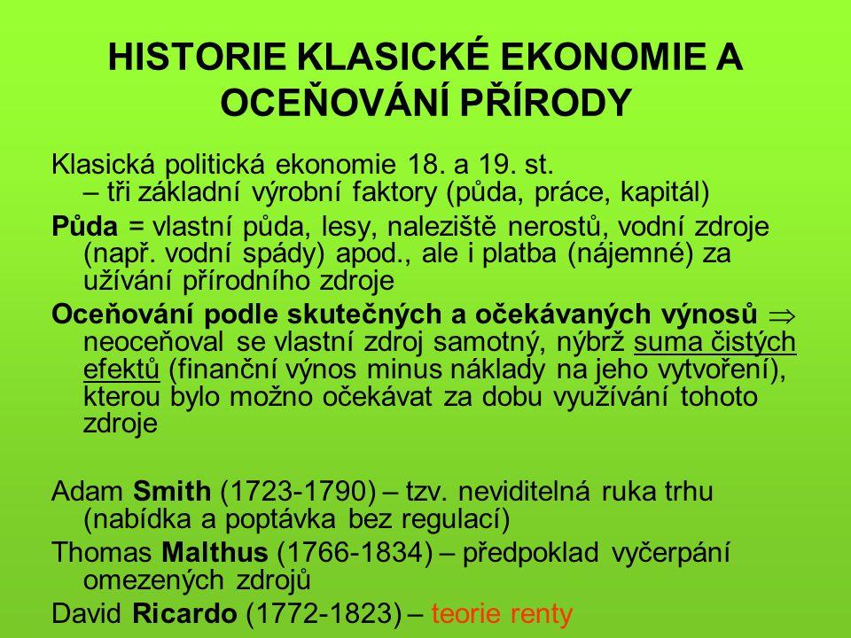 HISTORIE KLASICKÉ EKONOMIE A OCEŇOVÁNÍ PŘÍRODY Klasická politická ekonomie 18.