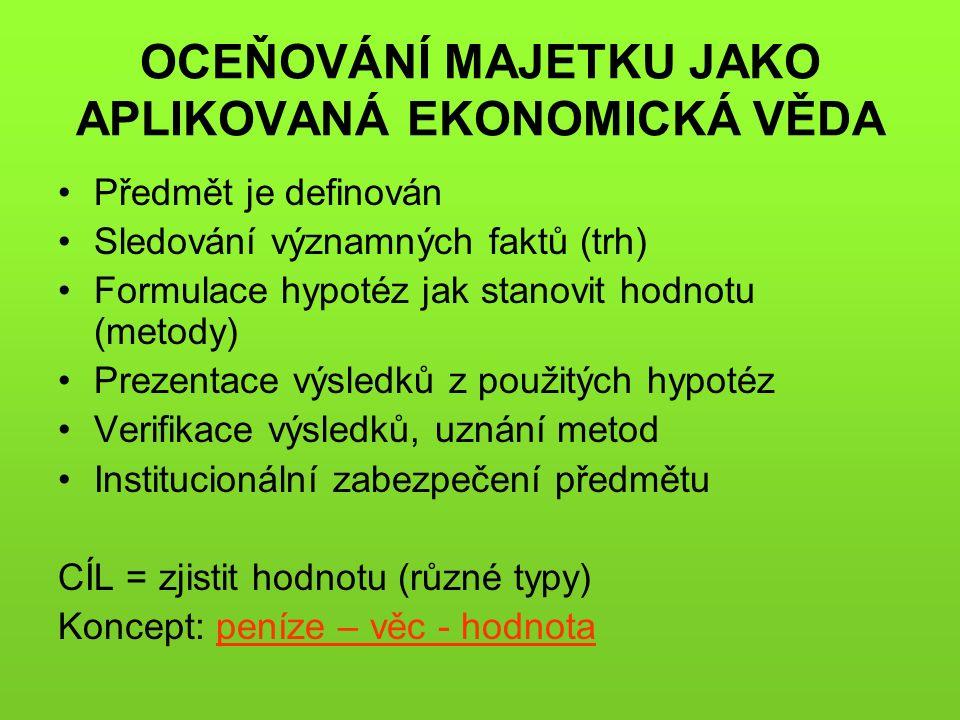 OCEŇOVÁNÍ MAJETKU JAKO APLIKOVANÁ EKONOMICKÁ VĚDA Předmět je definován Sledování významných faktů (trh) Formulace hypotéz jak stanovit hodnotu (metody) Prezentace výsledků z použitých hypotéz Verifikace výsledků, uznání metod Institucionální zabezpečení předmětu CÍL = zjistit hodnotu (různé typy) Koncept: peníze – věc - hodnota
