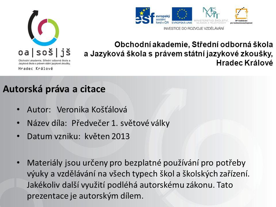 Autorská práva a citace Autor: Veronika Košťálová Název díla: Předvečer 1.