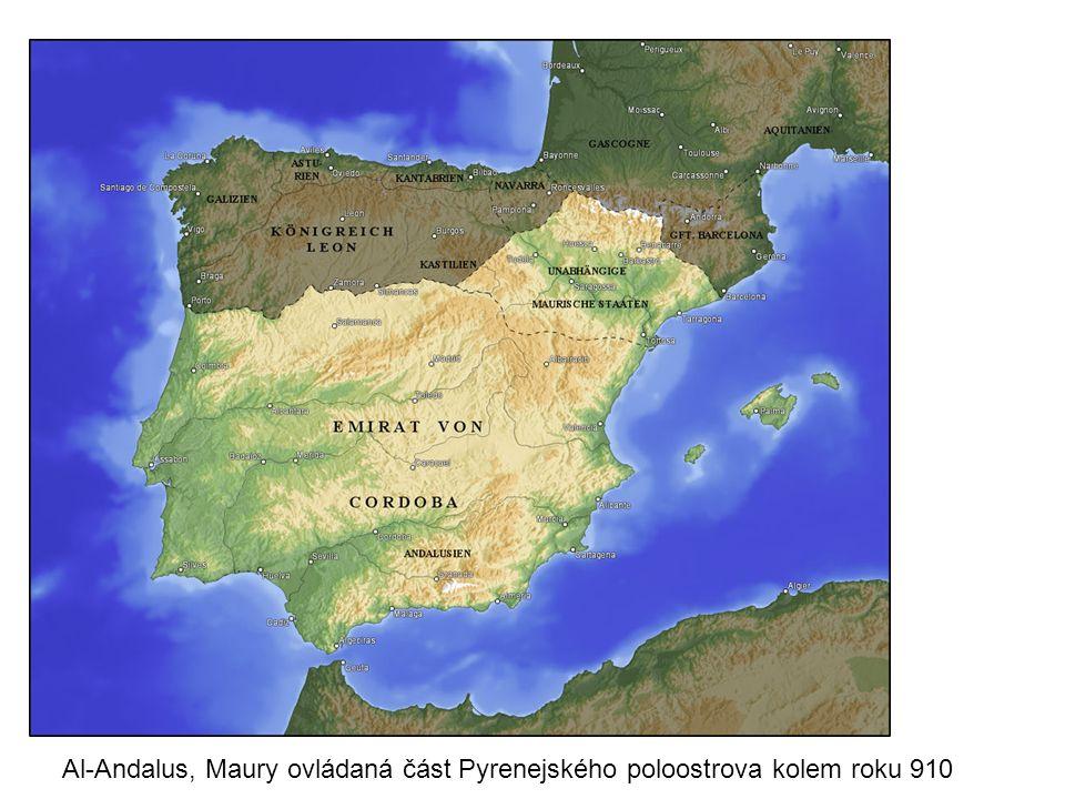 Al-Andalus, Maury ovládaná část Pyrenejského poloostrova kolem roku 910