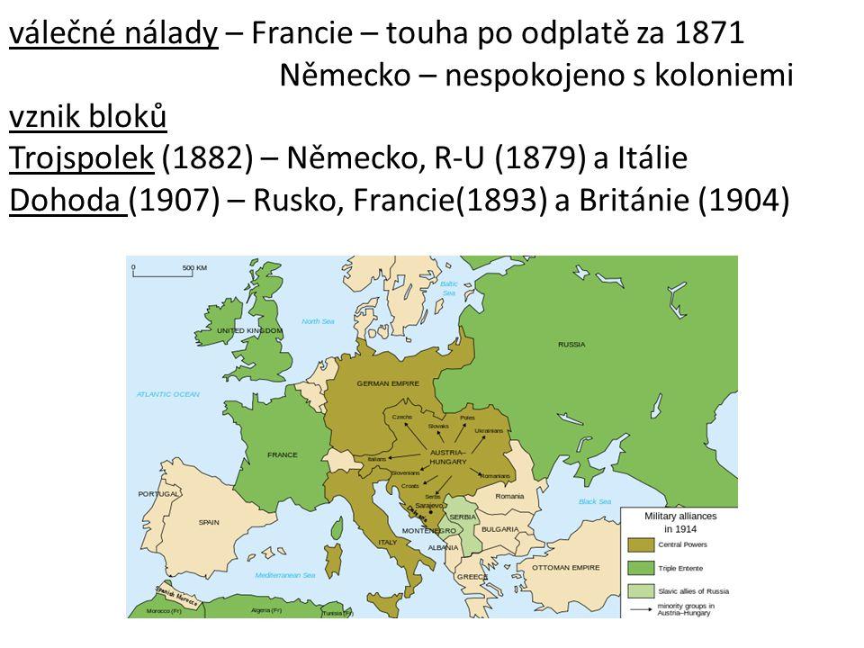 válečné nálady – Francie – touha po odplatě za 1871 Německo – nespokojeno s koloniemi vznik bloků Trojspolek (1882) – Německo, R-U (1879) a Itálie Dohoda (1907) – Rusko, Francie(1893) a Británie (1904)