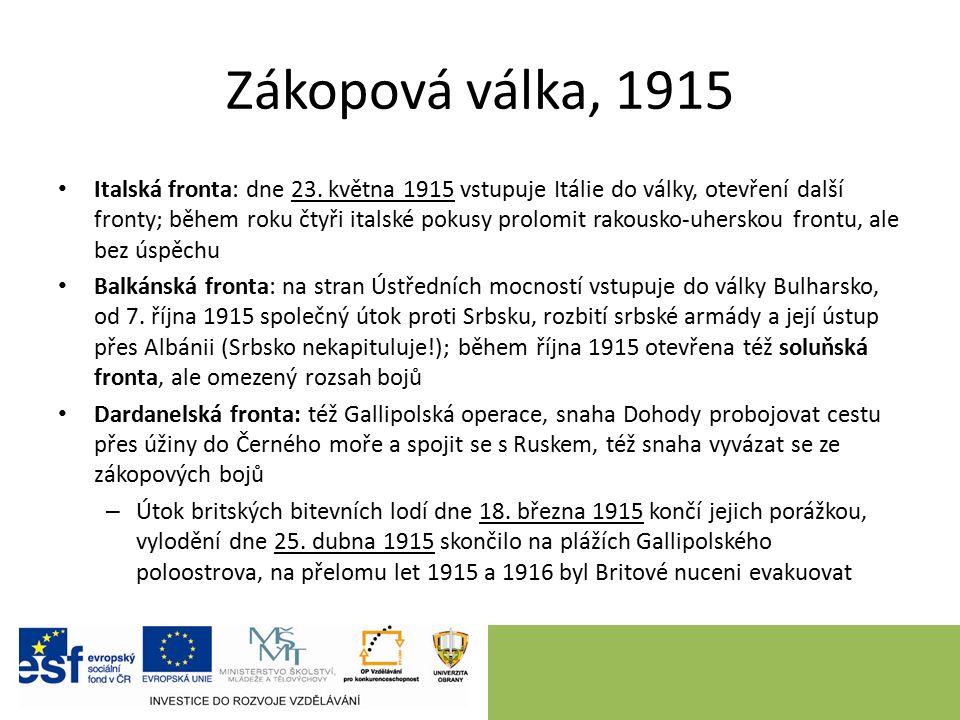 Zákopová válka, 1915 Italská fronta: dne 23.