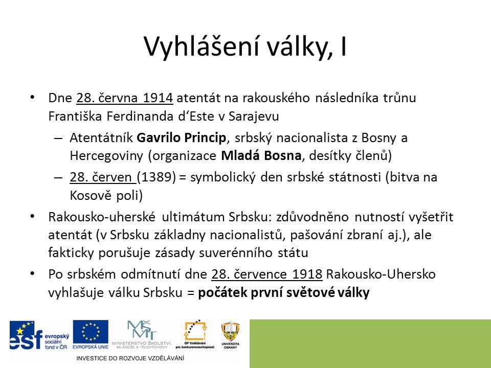 Vyhlášení války, II Spojencem Srbska Rusko, dne 28.