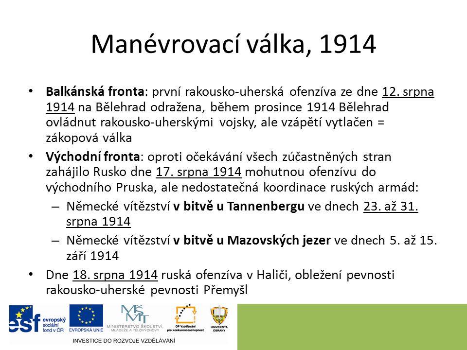 Manévrovací válka, 1914 Balkánská fronta: první rakousko-uherská ofenzíva ze dne 12.